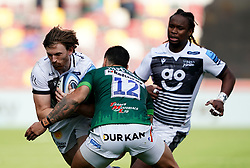 Sale Sharks' Jean-Pierre Du Preez (left) is tackled by London Irish's Terrence Hepetema during the Gallagher Premiership match at the Brentford Community Stadium, London. Picture date: Sunday September 26, 2021.