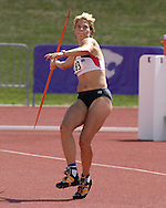 Germany's Annelie Schrader won the javelin with a throw of 44.68 meter in the hepatathlon, at the Nike Combined Events Challenge at the R.V. Christian Track Complex on the campus of Kansas State University in Manhattan, Kansas, August 6, 2006.