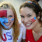 BETHLEHEM, PA - JUNE 16:  Soccer fans with faces painted for team U.S.A. as they face Ghana during the World Cup in Brazil at SteelStacks on June 16, 2014 in Bethlehem, Pennsylvania.  (Photo by Lisa Lake/Getty Images)