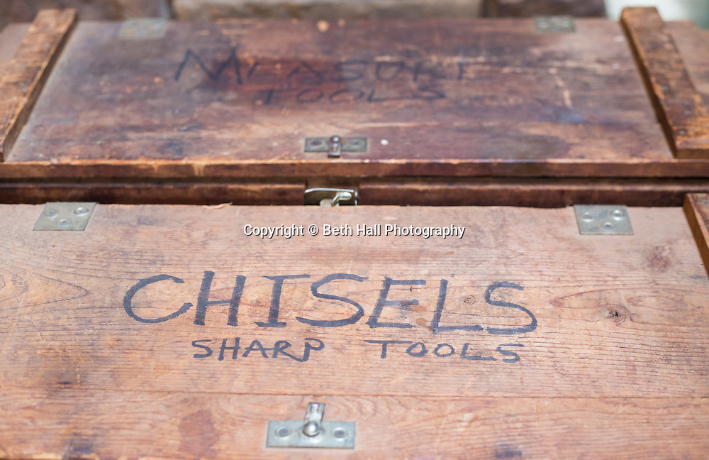 Boxes of antique hand tools at the home of Robert Runyon in Sugar Tree Hollow in Winslow, Arkansas, for Out Here Magazine. Photo by Beth Hall