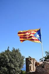 Catalonia, Spain Sep 2017. Catalonian flag on top of Castell de Begur