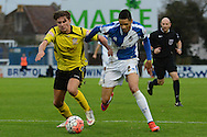 Bristol Rovers defender Daniel Leadbitter and Chesham United midfielder Sam Youngs tussle during the The FA Cup match between Bristol Rovers and Chesham FC at the Memorial Stadium, Bristol, England on 8 November 2015. Photo by Alan Franklin.