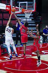 NORMAL, IL - February 27: Emon Washington gets his fingers on a shot by Noah Carter during a college basketball game between the ISU Redbirds and the Northern Iowa Panthers on February 27 2021 at Redbird Arena in Normal, IL. (Photo by Alan Look)