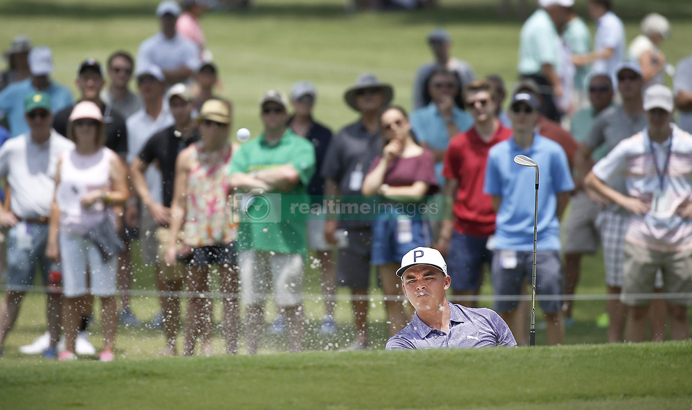 May 25, 2018 - Fort Worth, TX, USA - Rickie Fowler hits out of the bunker on hole number 1 during the second day of the Invitational at Colonial Friday, May 25, 2018 in Fort Worth, Texas. (Credit Image: © Brad Loper/TNS via ZUMA Wire)