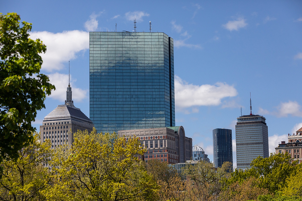 The towers of Boston's Back Bay seen shining on a springtime morning in the city.