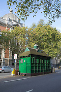A cabmans' shelters along Thurloe Place on 11th October 2015 in London, United Kingdom. Established in 1875, today they provide shelter, hot food and non-alcoholic drinks to cab drivers in London