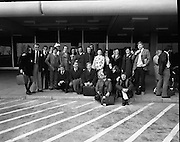 Abbey Players Go To Tour The USSR..1973..15.05.1973..05.15.1973..15th May 1973..Pictured at Dublin Airport just before leaving to tour Finland and the U.S.S.R. the Abbey Players posed for pictures at the departures doorway. Included in the picture are actors John Kavanagh, Donal McCann and Eamon Morrissey.