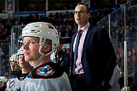 KELOWNA, BC - FEBRUARY 28: Kris Mallette, former assistant coach of the Kelowna Rockets stands on the bench for his first home game as interim head coach against the Everett Silvertips at Prospera Place on February 28, 2020 in Kelowna, Canada. (Photo by Marissa Baecker/Shoot the Breeze)