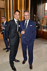 Left to right, FRANCOIS LE TROQUER Executive Director of Watches of Switzerland and BRIAN DUFFY CEO of Watches of Switzerland at the Watches of Switzerland Flagship Store Launch, 155 Regent Street, London on 17th July 2014.