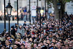 © Licensed to London News Pictures. 13/11/2016. London, UK.  Crowds gather to watch as members of the Royal family and politicians attend a Remembrance Day Ceremony at the Cenotaph war memorial in London, United Kingdom, on November 13, 2016 . Thousands of people honour the war dead by gathering at the iconic memorial to lay wreaths and observe two minutes silence. Photo credit: Ben Cawthra/LNP