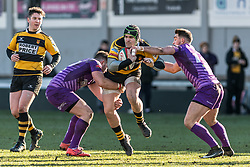 Newports' Tom Pascoe forces his way through the Ebbw Vale defence.<br /> <br /> Photographer Simon Latham/Replay Images<br /> <br /> Principality Premiership - Newport v Ebbw Vale - Sunday 4th February 2018 - Rodney Parade - Newport<br /> <br /> World Copyright © Replay Images . All rights reserved. info@replayimages.co.uk - http://replayimages.co.uk