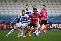 Football - 2020 / 20-21 Sky Bet Championship - Queens Park Rangers vs Derby County - Kiyan Prince Foundation Stadium<br /> <br /> Colin Kazim-Richards of Derby County holds off the challenge from Geoff Cameron of Queens Park Rangers.<br /> <br /> COLORSPORT