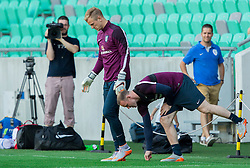 Joe Hart and Wayne Rooney during practice session of England National Football Team 1 day before Euro 2016 Qualifications match against Slovenia, on June 13, 2015 in SRC Stozice, Ljubljana, Slovenia. Photo by Vid Ponikvar / Sportida