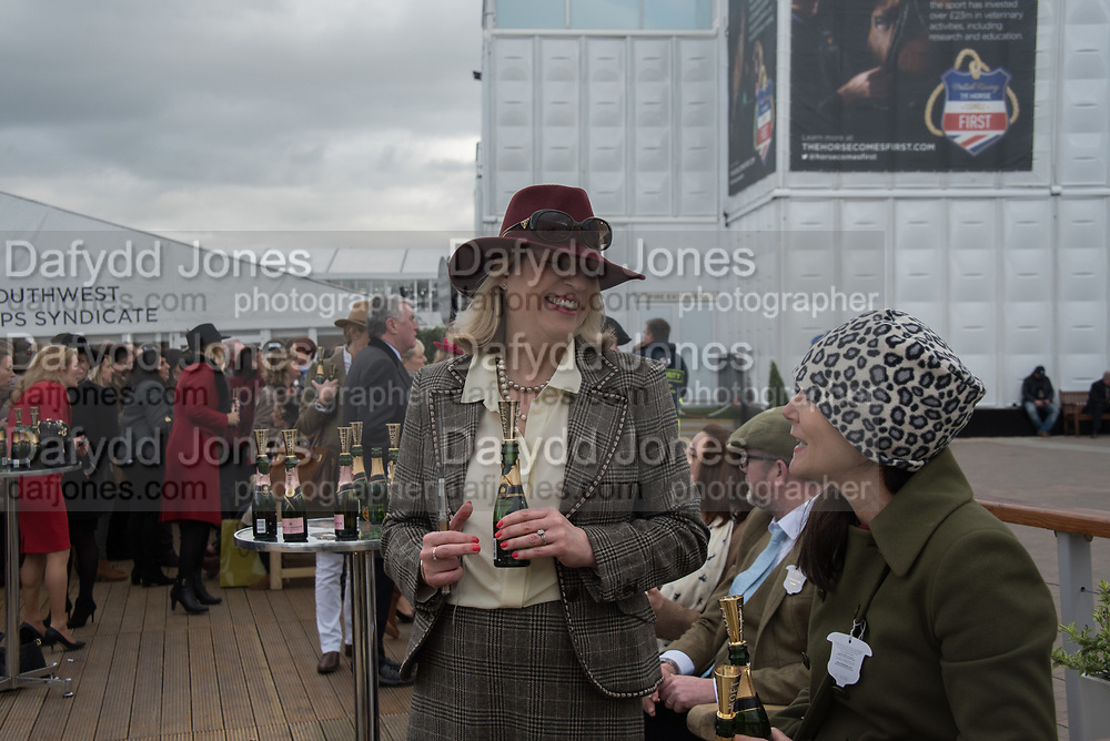 VANESSA KELLY; CATHY THORNE, champagne bar, Cheltenham races, Tuesday. 14 March 2017