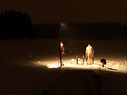 After a sauna, a man gets into the hole cut into a frozen lake for ice-swimming, Kallavesi, Kuopio, Central Finland. Ice swimming takes place in a body of water with a frozen crust of ice, which requires a hole cutting in it.  In Finland, the ice swimming tradition has generally been connected with the sauna tradition and it is not seen as an ascetic or religious ritual, but as a way to cool off rapidly after staying in the sauna and as a stress relief.