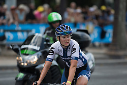 Lotta Lepistö (FIN) of Cervélo-Bigla Cycling Team was disappointed after finishing in second place in the La Course, a 89 km road race in Paris on July 24, 2016 in France.