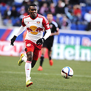 Lloyd Sam, New York Red Bulls, in action during the New York Red Bulls Vs D.C. United Major League Soccer regular season match at Red Bull Arena, Harrison, New Jersey. USA. 22nd March 2015. Photo Tim Clayton