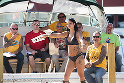 Annual Bikini contest hosted by Jody Perewitz at the Naswa Beach Resort during Laconia Motorcycle Week 2016. NH, USA. Thursday June 16, 2016.  Photography ©2016 Michael Lichter.