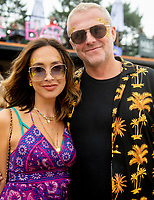 Myleene Klass  with her fiance Simon Motson at the Big Feastival 2021 on Alex James Cotswolds farm, Kingham oxfordshire photo by Michael Butterworth