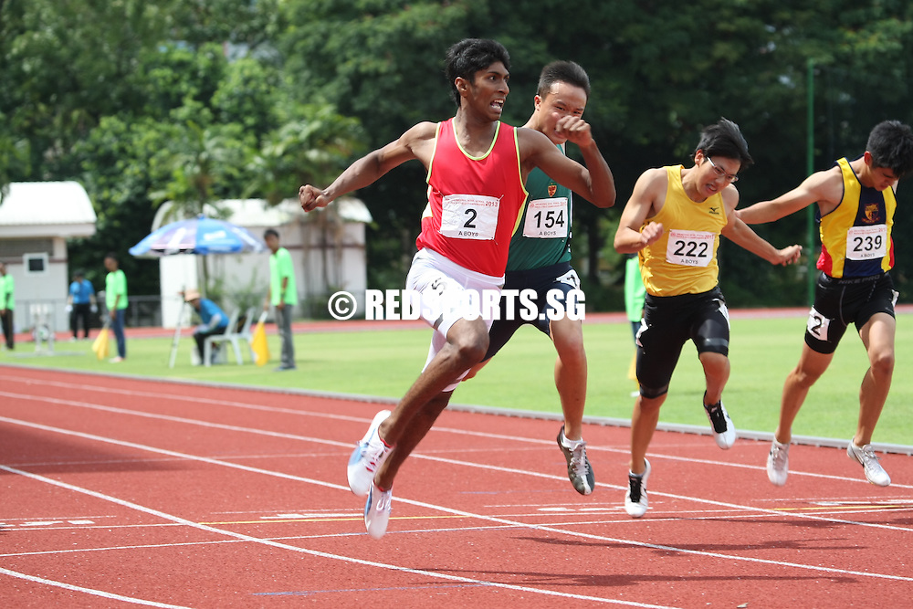 Choa Chu Kang Sports Complex, Wednesday, April 17, 2013 — It was pure joy for V S Mohamed Jawhardeen of Ahmad Ibrahim Secondary when he won his second gold in the A Division 100m final at the 54th National Schools Track and Field Championships. His winning time of 10.79 seconds was just 0.09s outside the record of 10.70s set in 2012 by Donovan Chan Xhiyuan, then of Hwa Chong Institution.<br /> <br /> Story: http://www.redsports.sg/2013/04/21/a-div-boys-100m-jawhardeen-ahmad-ibrahim/