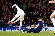Scotland forward James Forrest (7) (Celtic) scores his second goal of the night 2-1 during the UEFA Nations League match between Scotland and Israel at Hampden Park, Glasgow, United Kingdom on 20 November 2018.