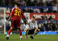 Photo: Paul Thomas.<br /> England v Macedonia. UEFA European Championships 2008 Qualifying. 07/10/2006.<br /> <br /> Steven Gerrard (R) of England congratulates Aco Stojkov after the match.