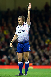 Referee Luke Pearce awards a penalty<br /> <br /> Photographer Simon King/Replay Images<br /> <br /> Under Armour Series - Wales v South Africa - Saturday 24th November 2018 - Principality Stadium - Cardiff<br /> <br /> World Copyright © Replay Images . All rights reserved. info@replayimages.co.uk - http://replayimages.co.uk