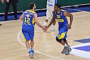 DESCRIZIONE : Eurolega Euroleague 2015/16 Group D Dinamo Banco di Sardegna Sassari - Maccabi Fox Tel Aviv<br /> GIOCATORE : Yogev Ohayon Trevor Mbakwe<br /> CATEGORIA : Fair Play Ritratto Esultanza<br /> SQUADRA : Maccabi Fox Tel Aviv<br /> EVENTO : Eurolega Euroleague 2015/2016<br /> GARA : Dinamo Banco di Sardegna Sassari - Maccabi Fox Tel Aviv<br /> DATA : 03/12/2015<br /> SPORT : Pallacanestro <br /> AUTORE : Agenzia Ciamillo-Castoria/L.Canu