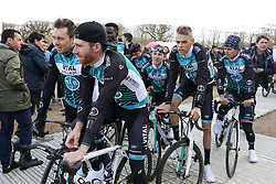 March 10, 2019 - Paris, Ile-de-France, France - Vital Concept B&b Hotels cycling team waits for the team's presentation at the start of the 138,5km 1st stage of the 77th Paris-Nice cycling race between Saint-Germain-en-Laye and Saint-Germain-en-Laye in the west suburb of Paris, France, on March 10, 2019. Whether leaders of a team or merely a team-mate, the riders on the Paris-Nice try to excel, either individually or as a team. According to the stage profiles, changes in the general standings or some unexpected circumstance during the race, each rider adapts his objectives to the situation. (Credit Image: © Michel Stoupak/NurPhoto via ZUMA Press)