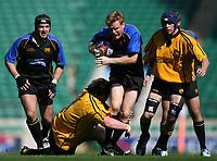 Photo: Jonathan Butler.<br /> <br /> Northwich v Bradford Salem. EDF Energy Senior Vase Final. 15/04/2007. Bradford centre Steve McManus attacks