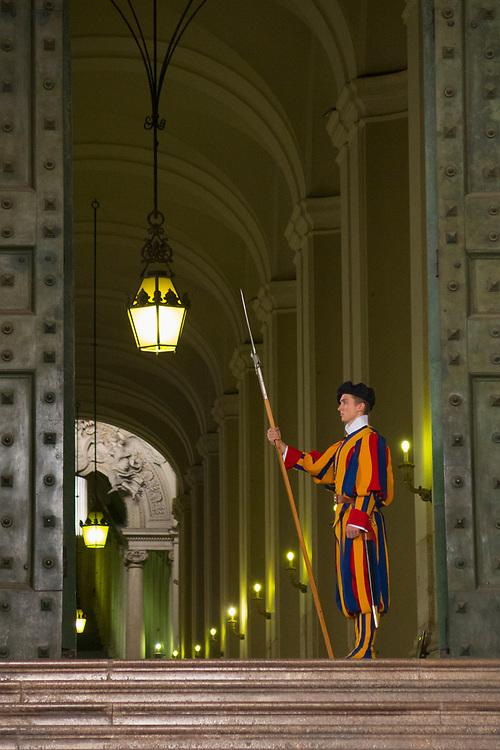 The Pontifical Swiss guard protects the Pope and its area of operation is in the Vatican. One of the most outstanding traditions of the Vatican