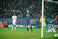 FOOTBALL - FRENCH CHAMPIONSHIP 2012/2013 - L1 - PARIS SAINT GERMAIN v OLYMPIQUE MARSEILLE - 24/02/2013 - PHOTO JEAN MARIE HERVIO / REGAMEDIA / DPPI - JOY ZLATAN IBRAHIMOVIC (PSG) AFTER HIS GOAL