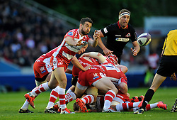 Greig Laidlaw of Gloucester Rugby passes the ball - Photo mandatory by-line: Patrick Khachfe/JMP - Mobile: 07966 386802 01/05/2015 - SPORT - RUGBY UNION - London - The Twickenham Stoop - Edinburgh Rugby v Gloucester Rugby - European Rugby Challenge Cup Final