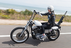 Savannah Burke riding Highway A1A along the coast during Daytona Bike Week 75th Anniversary event. FL, USA. Thursday March 3, 2016.  Photography ©2016 Michael Lichter.