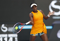 BEIJING, Oct. 2, 2018  Sloane Stephens of the United States hits a return during the women's singles second round match against Zheng Saisai of China at China Open tennis tournament in Beijing, China, Oct. 2, 2018. Stephens won 2-0. (Credit Image: © Jia Haocheng/Xinhua via ZUMA Wire)