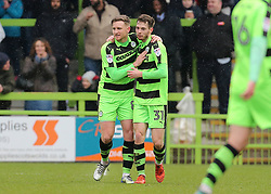 Forest Green Rovers Alex Bray (31) celebrates scoring his sides first goal of the game on his debut with Forest Green Rovers Dayle Grubb
