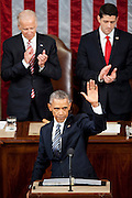 U.S. President Barack Obama waves to the Chamber as he finishes delivering the State of the Union address to a joint session of Congress at the Capitol in Washington, D.C., U.S., on Tuesday, Jan. 12, 2016. Obama said he regrets that political divisiveness in the U.S. grew during his seven years in the White House and he plans to use his final State of the Union address Tuesday night to call for the nation to unite. Photographer: Pete Marovich/Bloomberg *** Local Caption *** Barack Obama