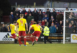 Albion Rover's Paul Willis misses their penalty. Albion Rover 1 v 2 Airdrie, Scottish League 1 game played 5/11/2016 at Cliftonhill.