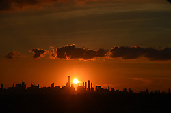A view of the Manhattan skyline at sunset from the top of Arthur Ashe Stadium at the 2018 US Open Tennis Championships at the USTA Billie Jean King National Tennis Center in New York City, NY, USA, on September 4, 2018. Photo by Corinne Dubreuil/ABACAPRESS.COM