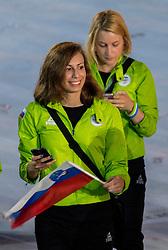 05-08-2016 BRA: Olympic Games day -1, Rio de Janeiro<br /> Openingsceremonie van de Olympische Spelen in Rio / dans, muziek, show en eenboodschap aan de wereld - Slovenie Slovenia / Tjasa Pintar of Slovenia