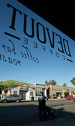 A customer's view out the front window at Devout Coffee includes a look at the hills above Niles Canyon, photographed Tuesday, April 5, 2016, in Fremont, Calif. (Photo by D. Ross Cameron)