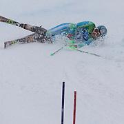 Winter Olympics, Vancouver, 2010.Ana Drev, Slovenia,  crashing on run one during the Alpine Skiing Ladies Slalom at Whistler Creekside, Whistler, during the Vancouver Winter Olympics. 24th February 2010. Photo Tim Clayton