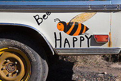 """hand painted old truck sign """"Bee Happy"""""""