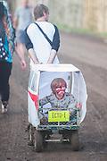 Not everyone is having fun. The 2015 Glastonbury Festival, Worthy Farm, Glastonbury.