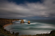 Used a long exposure (12 minute) to take this image of Gog and Magog (sea stacks near 12 Apostles)lit by moonlight, along the Great Ocean Road.