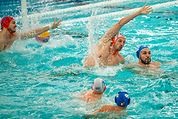 Eelco Wagenaar, Jesse Nispeling of the Netherlands in action against Romania during the Olympic qualifying tournament. The Dutch water polo players are on the hunt for a starting ticket for the Olympic Games on February 16, 2021 in Rotterdam