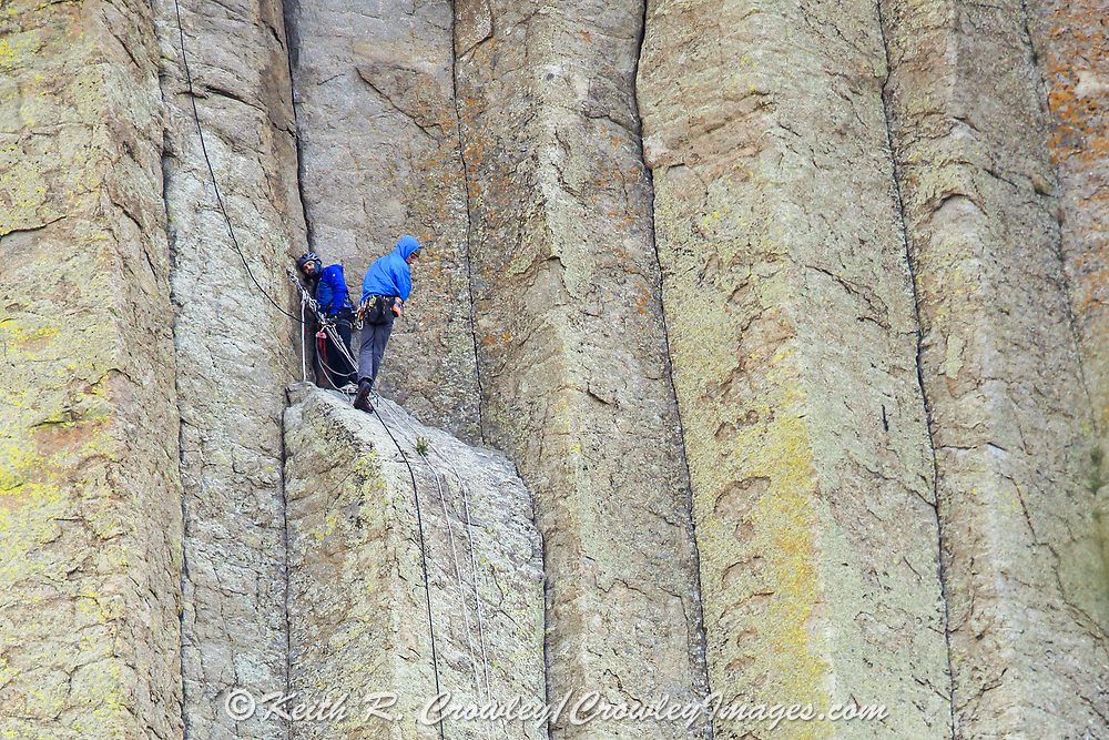 Rock climbers descend the side of Devils Tower