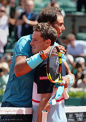 June 7, 2018 - Paris, France - DIEGO SCHWARTZMAN of Argentina and RAFAEL NADAL of Spain shake hands at the end of quarter final match of the French Tennis Open 2018 at Roland Garros.  Nadal won  4-6, 6-3, 6-2,6-2. (Credit Image: © Maya Vidon-White via ZUMA Wire)