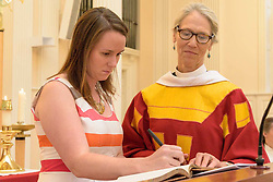 Berkeley Divinity School at Yale Matriculation 2016. New Berkeley Divinity School Student signing the Matriculation Book.
