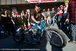 Bill Dodge picks up an award for his racey Panhead at Willie's Tropical Tattoo annual Old School Bike Show during Daytona Bike Week. FL, USA. March 13, 2014.  Photography ©2014 Michael Lichter.